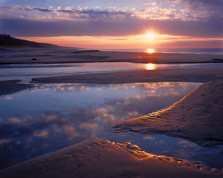 Sunset on the shore of Lake Michigan; Warren Dunes State Park, MI