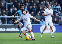 Luke Gambin of Luton Town during the Sky Bet League 2 match between Wycombe Wanderers and Luton Town at Adams Park, High Wycombe, England on the 21st January 2017. Photo by Liam McAvoy.