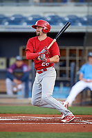 Palm Beach Cardinals first baseman Stefan Trosclair (28) follows through on a swing during a game against the Charlotte Stone Crabs on April 21, 2018 at Charlotte Sports Park in Port Charlotte, Florida.  Charlotte defeated Palm Beach 5-2.  (Mike Janes/Four Seam Images)