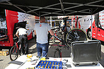 Lotto-Soudal team mechanics check their Ridley bikes at the team bus before Stage 1 of the 2019 Giro d'Italia, an individual time trial running 8km from Bologna to the Sanctuary of San Luca, Bologna, Italy. 11th May 2019.<br /> Picture: Eoin Clarke | Cyclefile<br /> <br /> All photos usage must carry mandatory copyright credit (© Cyclefile | Eoin Clarke)
