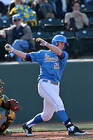Jeff Gelalich #20 of the UCLA Bruins bats against the Baylor Bears at Jackie Robinson Stadium on February 25, 2012 in Los Angeles,California. UCLA defeated Baylor 9-3.(Larry Goren/Four Seam Images)