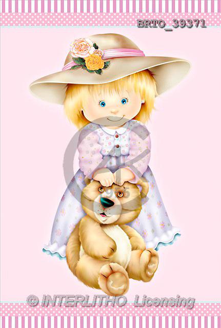 Alfredo, CHILDREN, paintings, girl, bear(BRTO39371,#K#)