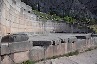 DELPHI, GREECE - APRIL 12 : A general view of the votive of the Kings of Argos, on April 12, 2007 in the Sanctuary of Apollo, Delphi, Greece. Semicircular exedra, it was constructed circa 370 BC to hold 20 bronze statues of kings and heroes of Argos. (Photo by Manuel Cohen)