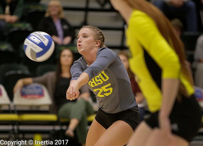 SPEARFISH, SD: SEPTEMBER 29:  Sydney Ederhoff #25 of Black Hills State hits during their match with Colorado Mines Friday at the Donald E. Young Center in Spearfish, S.D.   (Photo by Dick Carlson/Inertia)