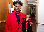 """WATERBURY,  CT-011820JS27- Waterbury NAACP Youth Council president Amari Brantley, 17, and Jabari Hendricks, 9, the youngest member of the Waterbury NAACP Youth Council, at the """"Men with a Purpose"""" luncheon, a Dr. Martin Luther King, Jr. event celebrating men, at Grace Baptist Church in Waterbury. The event was sponsored by the Waterbury NAACP Youth Council.<br /> Jim Shannon Republican-American"""
