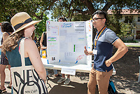 Chris Rom-Toribio, Los Angeles LGBT Center<br /> 2018 InternLA student participants share their poster presentations about their summer experiences working as interns in Los Angeles. Summer Experience Expo, Sept. 13, 2018 in the Academic Quad. Hosted by Career Services.<br /> (Photo by Marc Campos, Occidental College Photographer)