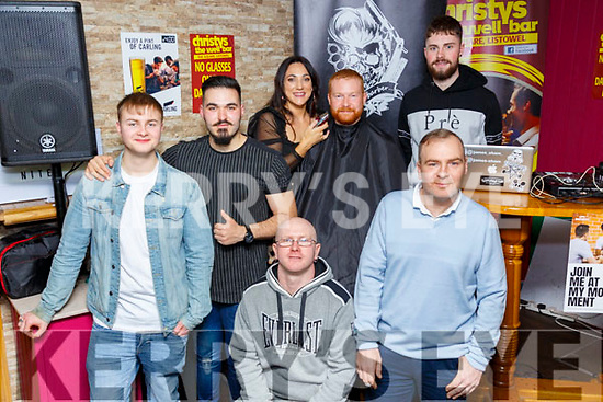 Movember Charity Night : Pictured at the Movember Charity night at Christy;s Bar, Listowel on Saturday nigh last were Sean JackMan, Maldrit Xhemiailci, hairdresser Aoife O' Connell, Brendan Heffernan, Paddy Keane Gerry Carey & Billy Keane.