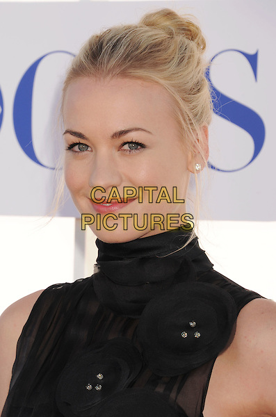 Yvonne Strahovski.CBS, CW, Showtime 2012 Summer TCA Party held at The Beverly Hilton Hotel, Beverly Hills, California, USA..July 29th, 2012.headshot portrait black sleeveless high collar hair up sheer corsage .CAP/ROT/TM.©Tony Michaels/Roth Stock/Capital Pictures