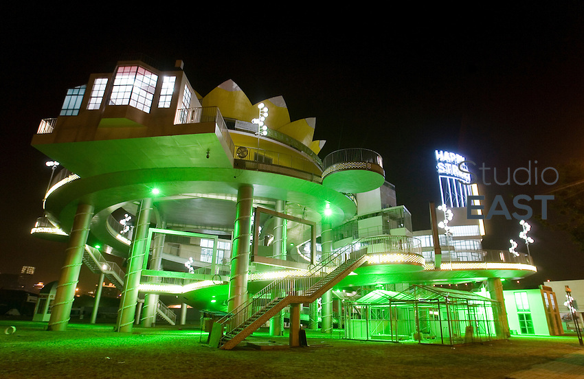 The Dutch Pavilion is seen at night, on Shanghai World Expo site, in Shanghai, China, on March 12, 2010. Photo by Lucas Schifres