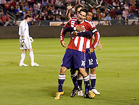 Chivas USA midfielder Sacha Kljestan (16) celebrates his goal with his teammates. CD Chivas USA defeated the San Jose Earthquakes 3-2 at the  at Home Depot Center stadium in Carson, California on Saturday April 24, 2010.  .