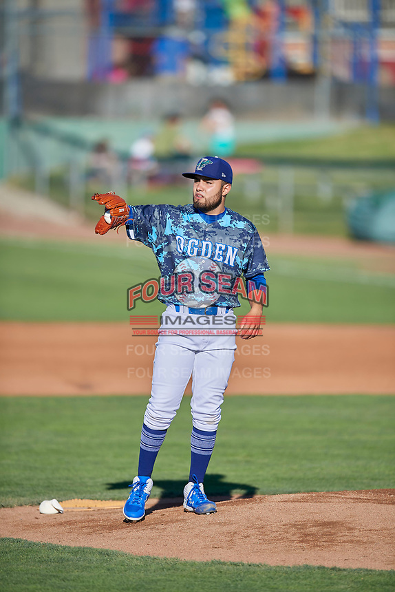 Ogden Raptors starting pitcher Antonio Hernandez (27) during the game against the Rocky Mountain Vibes at Lindquist Field on July 5, 2019 in Ogden, Utah. The Raptors defeated the Vibes 6-4. (Stephen Smith/Four Seam Images)