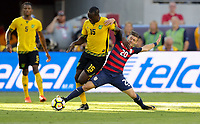 Santa Clara, CA - Wednesday July 26, 2017: Je-Vaughn Watson and Paul Arriola during the 2017 Gold Cup Final Championship match between the men's national teams of the United States (USA) and Jamaica (JAM) at Levi's Stadium.