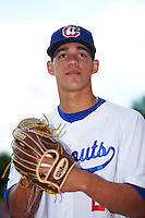 Chattanooga Lookouts pitcher Jose Berrios (25) poses for a photo before a game against the Jacksonville Suns on April 30, 2015 at AT&T Field in Chattanooga, Tennessee.  Jacksonville defeated Chattanooga 6-4.  (Mike Janes/Four Seam Images)