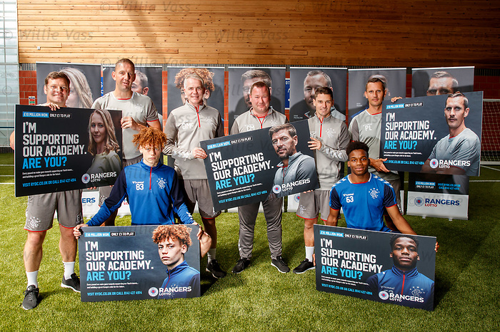 05.08.2019 Rangers RYDC Launch new Lotto Campaign. <br /> Graeme Murty, Graeme Smith, David McCallum, Craig Mulholland, Brian Gilmour and Peter Lovenkrands with youth players Nathan Young-Coombes and Dapo Mebude