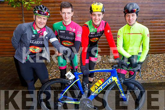 John O'Donoghue, Mark McGlynn, Neill Hodges and Ronan Parkinson from the Killarney Cycling club at the Lacey Cup cycling on Sunday.