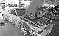 Bill Elliott's Thunderbird in the garage before the Firecracker 400 Daytona International Speedway Daytona Beach FL July 1982.(Photo by Brian Cleary/www.bcpix.com)(Photo by Brian Cleary/www.bcpix.com)