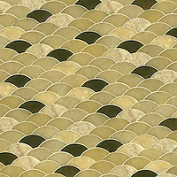 Abalone, a waterjet mosaic is shown in Honey Onyx (p), Oceanside Glass #048.