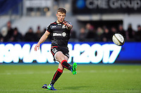 Tom Whiteley of Saracens kicks for the posts. Anglo-Welsh Cup match, between Saracens and Leicester Tigers on February 5, 2017 at Allianz Park in London, England. Photo by: Patrick Khachfe / JMP