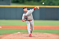 Johnson City Cardinals starting pitcher Ian Oxnevad (23) delivers a pitch during a game against the Greeneville Astros at Pioneer Park on August 12, 2016 in Greeneville, Tennessee. The Cardinals defeated the Astros 7-6. (Tony Farlow/Four Seam Images)