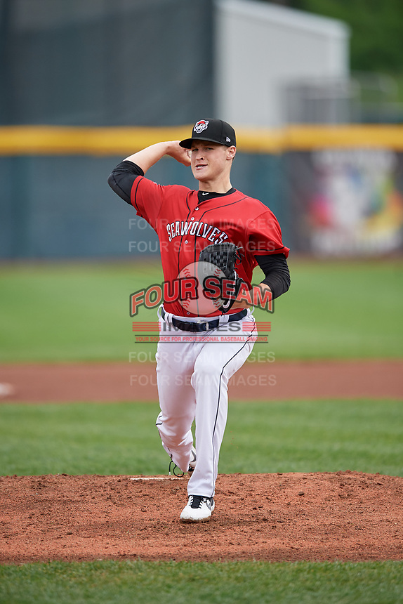 Erie SeaWolves starting pitcher Matt Manning (30) during an Eastern League game against the Akron RubberDucks on June 2, 2019 at UPMC Park in Erie, Pennsylvania.  Akron defeated Erie 7-2, the first game of a doubleheader.  (Mike Janes/Four Seam Images)