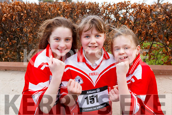 Ready for action at the first cross country competition held by Cumann na mBunscol Chairrai in the Caherslee GAA pitch in Tralee on Thursday afternoon last from Dingle, <br /> l-r, Hannah Granville, Ellie Hoare and Anna Ni Chonchuir.