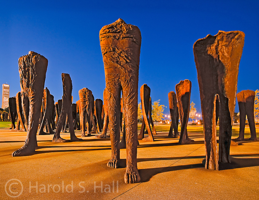 Agora is the name of a group of 106 headless and armless iron sculptures at the south end of Grant Park in Chicago. Designed by Polish artist Magdalena Abakanowicz.