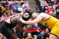 STANFORD, CA - March 7, 2020: David Showumi of Stanford and Tanner Hill of Arizona State University during the 2020 Pac-12 Wrestling Championships at Maples Pavilion.