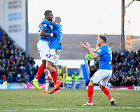 Goalscorer Omar Bogle of Portsmouth left celebrates with James Vaughan and Lee Brown of Portsmouth during Portsmouth vs Doncaster Rovers, Sky Bet EFL League 1 Football at Fratton Park on 2nd February 2019