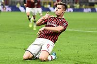 Krzysztof Piatek celebrates after scoring the goal of 2-1<br /> Milano 20/10/2019 Stadio Giuseppe Meazza <br /> Football Serie A 2019/2020 <br /> AC Milan - Lecce <br /> Photo Image Sport / Insidefoto