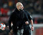 Josep Guardiola manager of Manchester City walks off dejected during the Premier League match at Old Trafford, Manchester. Picture date: 8th March 2020. Picture credit should read: Darren Staples/Sportimage