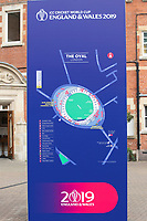 General sign of the map of the Oval during India vs New Zealand, ICC World Cup Warm-Up Match Cricket at the Kia Oval on 25th May 2019