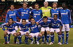 27 October 2007: Kansas City's starters pose for a team photo before the game. Front row (l to r): Nick Garcia, Davy Arnaud, Kurt Morsink (CRC), Michael Harrington, Scott Sealy (TRI). Back row: Kerry Zavagnin, Jimmy Conrad, Jack Jewsbury, Kevin Hartman, Sasha Victorine, Eddie Johnson. The Kansas City Wizards defeated Club Deportivo Chivas USA 1-0 in the first leg of their Major League Soccer Western Conference Semifinal playoff series at Arrowhead Stadium in Kansas City, Missouri.