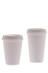 small and large styrofoam coffee cups with lids on shadowless white background