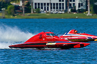 "Brandon Kennedy, T-1 ""Shameless Say What?"", 1 Litre Stock hydroplane and John Shaw, T-125 ""My Shameless Mistake"", 1 Litre Stock class hydroplane."