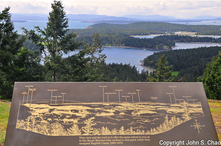 View looking northwest from Mount Young, English Camp, San Juan Island National Historic Park, San Juan Islands, Washington.