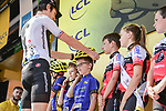 Geraint Thomas (WAL) Team Sky presents youth riders with helmets at sign on before the start of Stage 7 of the 2018 Tour de France running 231km from Fougeres to Chartres, France. 13th July 2018. <br /> Picture: ASO/Pauline Ballet | Cyclefile<br /> All photos usage must carry mandatory copyright credit (&copy; Cyclefile | ASO/Pauline Ballet)