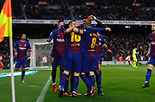 7th January 2018, Camp Nou, Barcelona, Spain; La Liga football, Barcelona versus Levante; Messi from FC Barcelona celebrating the first goal for Barcelona with his teammates