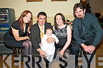 Christening: Baby Ava,who was christened at St Michael's Church, Lixnzw by Fr. Mossie Brick, PP on Saturday last at 4.00pm,  pictured with her parents TJ & Bernie Maher, Lixnaw and her god parents Fiona Muldoon & John Maher. The party was held at the Listowel Arms \Hotel.
