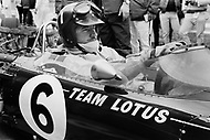 Watkins Glen, New York, USA. 01 Oct 1967. British Formula One racecar driver Graham Hill of Team Lotus competes in the 1967 Watkins Glen Formula One Grand Prix. Hill placed second in the race.