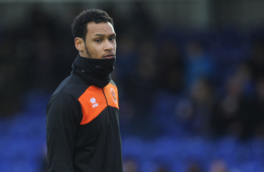 Blackpool's Christoffer Mafoumbi<br /> <br /> Photographer Kevin Barnes/CameraSport<br /> <br /> The EFL Sky Bet League One - AFC Wimbledon v Blackpool - Saturday 29th December 2018 - Kingsmeadow Stadium - London<br /> <br /> World Copyright © 2018 CameraSport. All rights reserved. 43 Linden Ave. Countesthorpe. Leicester. England. LE8 5PG - Tel: +44 (0) 116 277 4147 - admin@camerasport.com - www.camerasport.com