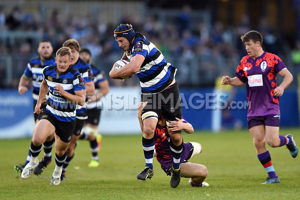 Paul Grant of Bath United takes on the UK Armed Forces defence. Remembrance Rugby match, between Bath United and the UK Armed Forces on May 10, 2017 at the Recreation Ground in Bath, England. Photo by: Patrick Khachfe / Onside Images