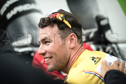 03.07.2016. Normandy, France. Tour de France Stage 2 from Saint-Lo to Cherbourg en-Cotentin. Mark Cavendish in the leaders yellow jersey.