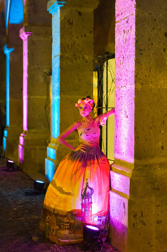 A fashion show of Takasami (designer Maria Rosario Mendoza) at the Cabañas Cultural Institute in the historic center of Guadalajara, Mexico