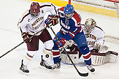 Patrick Wey (BC - 6), A.J. White (UML - 18), Parker Milner (BC - 35) - The University of Massachusetts Lowell River Hawks defeated the Boston College Eagles 4-2 (EN) on Tuesday, February 26, 2013, at Kelley Rink in Conte Forum in Chestnut Hill, Massachusetts.