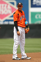 Bowie Baysox shortstop Manny Machado #3 looks on during a game against the New Hampshire Fisher Cats at Prince George's Stadium on June 17, 2012 in Bowie, Maryland. New Hampshire defeated Bowie 4-3 in 13 innings. (Brace Hemmelgarn/Four Seam Images)