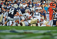 Sept. 19, 2009; Provo, UT, USA; Florida State Seminoles wide receiver (83) Bert Reed is tackled by BYU Cougars defensive lineman (84) Jan Jorgensen at LaVell Edwards Stadium. Florida State defeated BYU 54-28. Mandatory Credit: Mark J. Rebilas-