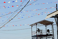 USA. Angola. 20th April 2008.A prison guard watches over the festivities during the Rodeo weekend..©Andrew Testa
