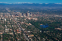 Aerial of City Park in downtown Denver with the Rocky Mountains in the background. Colorado.