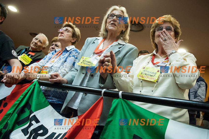 I familiari delle vittime reagiscono alla lettura della sentenza di appello del processo Eternit nell'aula 1 del Palagiustizia <br /> Torino 03/06/2013 <br /> Foto Insidefoto Giorgio Perottino