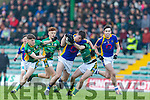 Green's Gearoid Fitzgerald get blocked by  St's  At the Munster Schools Under 18 1/2 Corn Uí Mhuirí Final Tralee CBS v St Brendans College on Saturday at Austin Stack Park.